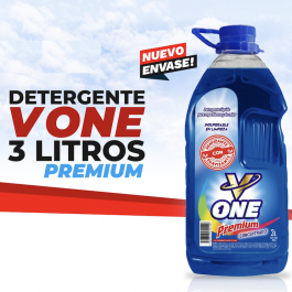 3 Detergente Premium Concentrado c/suavizante V One 3L X $5.000.-